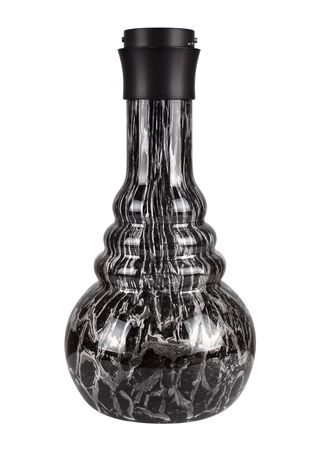 Hookah bowl transparent with texture in black with Click thread black by Saphir Shisha