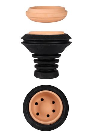 Shishahead from silicone in black with Terracotta inlay by Saphir Shisha